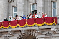 Members of the House of Windsor on the balcony of Buckingham Palace, 15 June 2013.