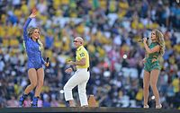 """Pitbull, Leitte and Lopez performing """"We Are One"""" at the 2014 FIFA World Cup opening ceremony"""