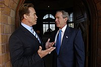 President George W. Bush meets with Schwarzenegger after his successful election to the California Governorship.