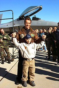 Schwarzenegger and his son Patrick at Edwards Air Force Base in December 2002