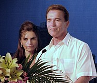 Schwarzenegger with then-wife Maria Shriver at the 2007 Special Olympics in Shanghai