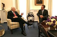 Vice President Dick Cheney meets with Schwarzenegger for the first time at the White House