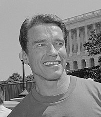 Arnold Schwarzenegger on Capitol Hill in 1991 for an event related to the President's Council on Physical Fitness and Sports