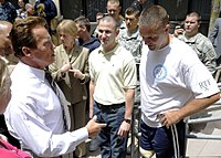 Governor Schwarzenegger during his visit to Naval Medical Center in San Diego, July 2010.