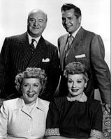 Cast of I Love Lucy with William Frawley, Desi Arnaz and Vivian Vance.