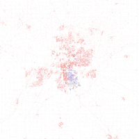 Map of racial distribution in Fort Wayne, 2010 U.S. Census. Each dot is 25 people: White, Black, Asian , Hispanic or Other (yellow)