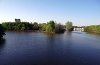 The St. Marys River (left) and St. Joseph River (right) converge to form the Maumee River (foreground).