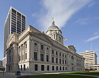 The Allen County Courthouse (center) and the Rousseau Centre (right), home to city and county offices