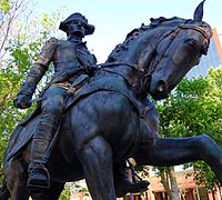 """A statue of General """"Mad"""" Anthony Wayne, namesake of the city, stands in Freimann Square."""