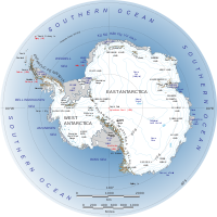 Labeled map of Antarctica, with West Antarctica on the left.