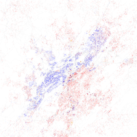 Map of racial distribution in Birmingham, 2010 U.S. Census. Each dot is 25 people: White, Black, Asian , Hispanic or Other (yellow)