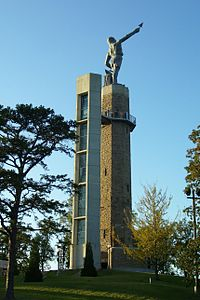 The Vulcan statue on top of Red Mountain in Vulcan Park