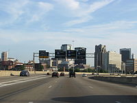Interstate 59 (co-signed with Interstate 20) approaching Interstate 65 in downtown Birmingham