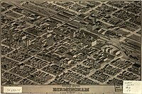 Panoramic map of Birmingham's business section from 1903