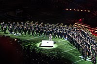 """Timberlake performing """"Suit & Tie"""" with the Minnesota Marching Band at Super Bowl LII"""