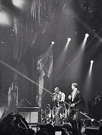 """Timberlake and Jay-Z performing """"Suit & Tie"""" at the Legends of the Summer Tour"""