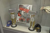 Driver trophies for the Brickyard 400.