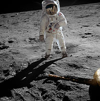 Astronaut Buzz Aldrin walking on the Moon during the Apollo 11 mission in 1969