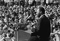Martin Luther King, Jr. speaking to an anti-Vietnam War rally at the University of Minnesota, St. Paul on April 27, 1967