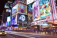 Times Square in New York City, the hub of the Broadway theater district