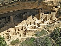 The Cliff Palace, built by the Native American Puebloans between AD 1190 and 1260