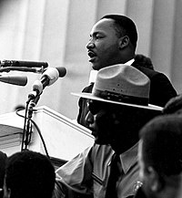 """Martin Luther King, Jr. giving his famous """"I Have a Dream"""" speech at the Lincoln Memorial during the March on Washington on August 28, 1963"""