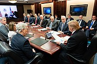 A congressional leadership meeting with President Trump in 2019