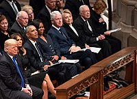 President Donald Trump and former presidents Barack Obama, Bill Clinton and Jimmy Carter attending the state funeral of George H. W. Bush in December 2018