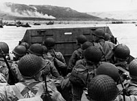 U.S. troops landing on Omaha Beach during the invasion of Normandy, June 6, 1944