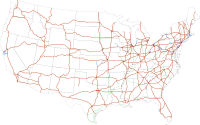 The Interstate Highway System, which extends 46876 mi