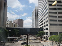View of the Texas Medical Center from Fannin Street. The center is the largest medical complex in the world.