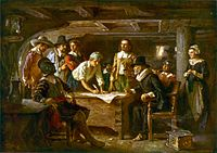 The Mayflower Compact, 1620 by Jean Leon Gerome Ferris