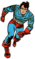 Barnes as Bucky during World War II. Art by the character's co-creator Jack Kirby, from the first page of the comic book series Tales of Suspense #63 (March, 1965).