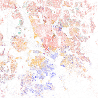 Map of racial distribution in Dallas, 2010 U.S. Census. Each dot is 25 people: White, Black, Asian Hispanic , or Other (yellow)