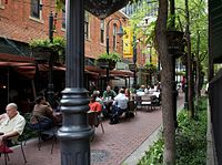 Stone Street Gardens is lined with bistros, pubs, and restaurants connecting Main to Elm Streets in Downtown Dallas.