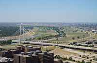 The Trinity River as viewed from Reunion Tower in Dallas in August 2015