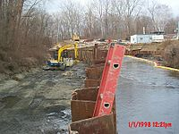 Cleanup activity at one of the GE Pittsfield plant Superfund sites on the Housatonic River.