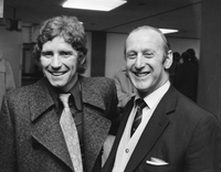 Alan Ball (left) and Bertie Mee (who led Arsenal to their first double in 1971), pictured in 1972