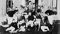 Royal Arsenal squad in 1888. Original captain, David Danskin, sits on the right of the bench.