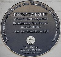 Plaque at 91 Lexham Gardens, Kensington, London, Everett's home from 1981 to 1995