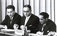 Bhabha (right) at the International Conference on the Peaceful Uses of Atomic Energy in Geneva, Switzerland, 20 August 1955