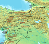 Map of the Roman–Persian frontier after the division of Armenia in 384. The frontier remained stable throughout the 5th century.