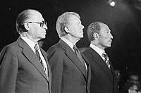 Menachem Begin, Jimmy Carter and Anwar Sadat concluded a peace treaty in 1978.