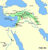 Area of the fertile crescent, circa 7500 BC, with main sites of the Pre-Pottery Neolithic period. The area of Mesopotamia proper was not yet settled by humans.