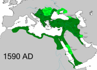 The Ottoman Empire at its greatest extent in the Middle East, including its client states.