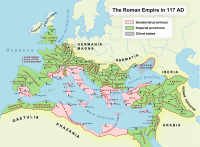 The Roman Empire at its greatest extent, under Trajan, 117 AD