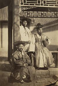 One of the earliest photographs depicting yangban Koreans, taken in 1863