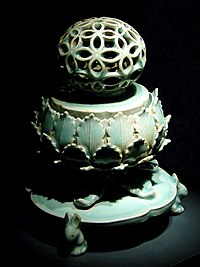 Celadon Incense Burner from the Korean Goryeo dynasty (918–1392), with kingfisher color glaze