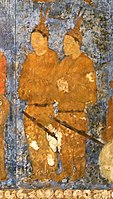 Korean ambassadors during a audience with king Varkhuman of Samarkand. They are idenfied by the two feathers on top of their head. 648-651 CE, Afrasiyab murals, Samarkand.