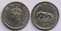 1 Indian rupee (1947) featuring George VI on obverse and Indian Lion on reverse.